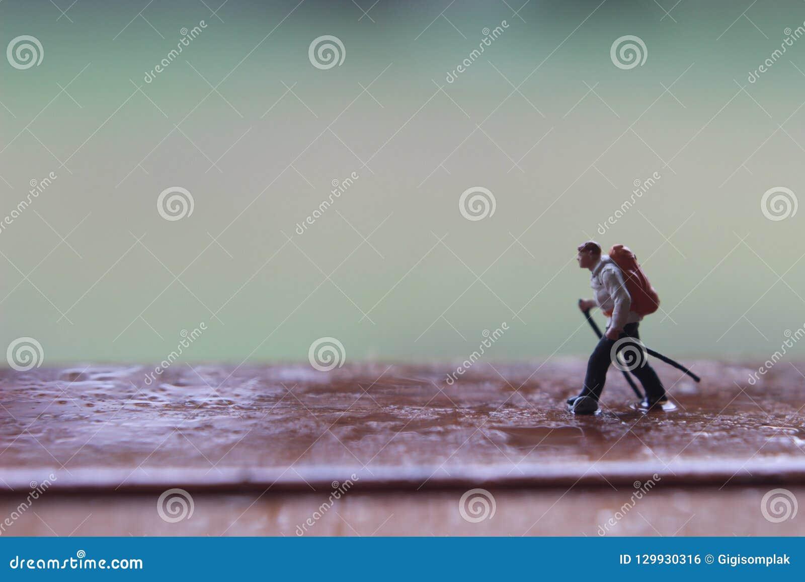 Mini Figure Hiker, andando no trajeto de madeira molhado