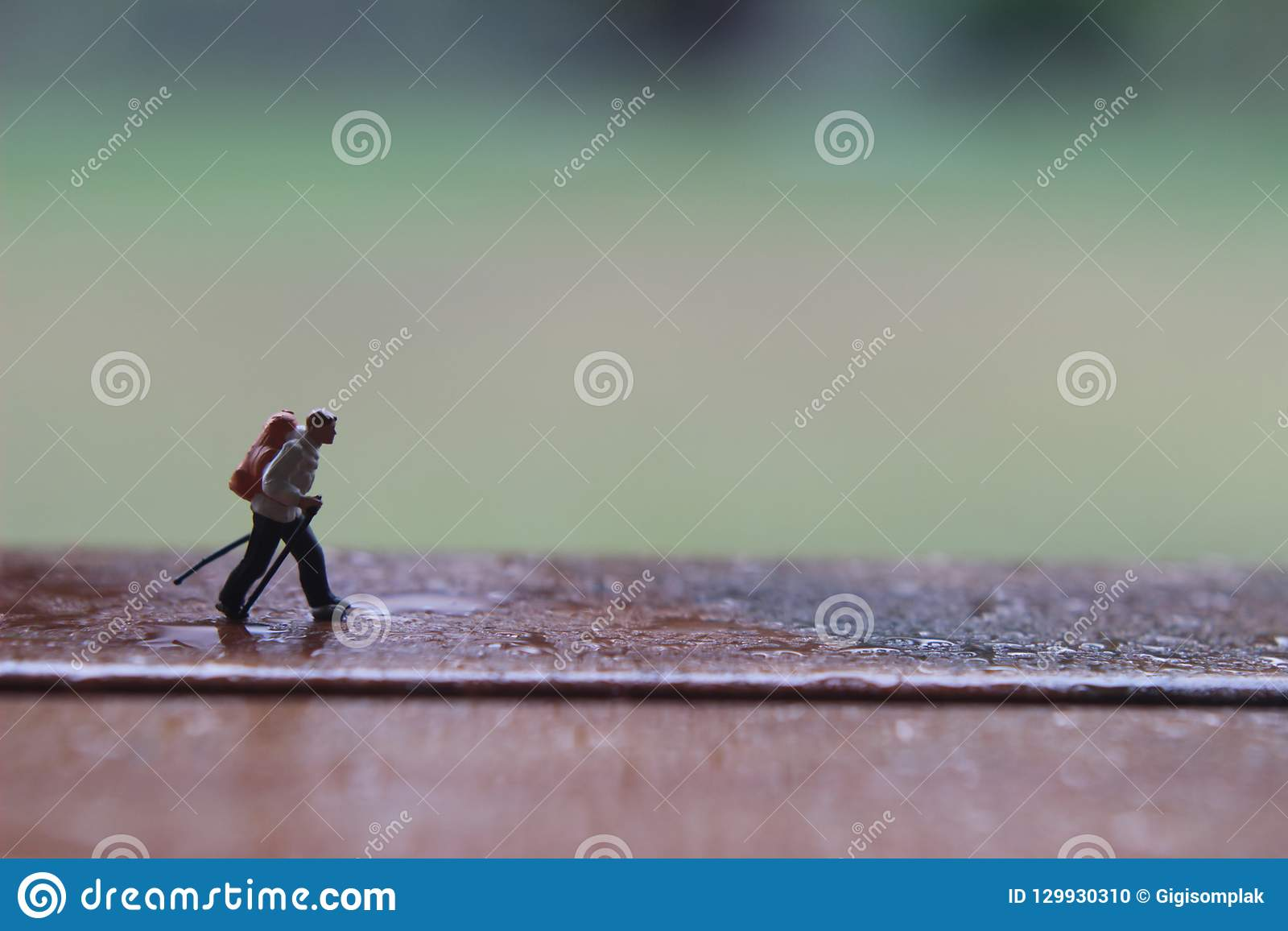 Mini Figure Hiker, caminando en la trayectoria de madera mojada