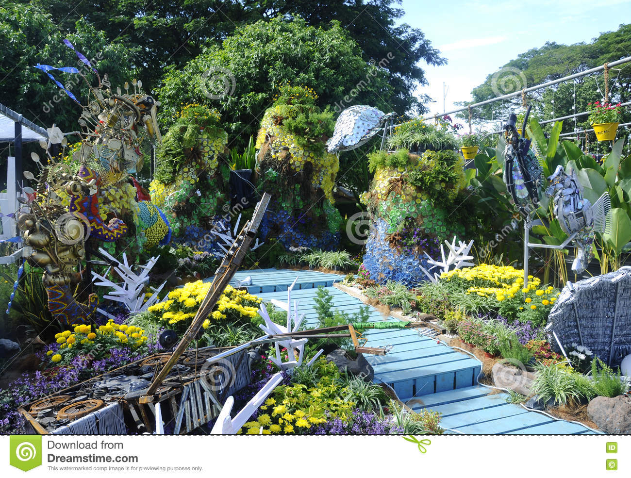 Download Mini Garden Built Using Recycled Materials Editorial Stock Photo    Image Of Garden, Part