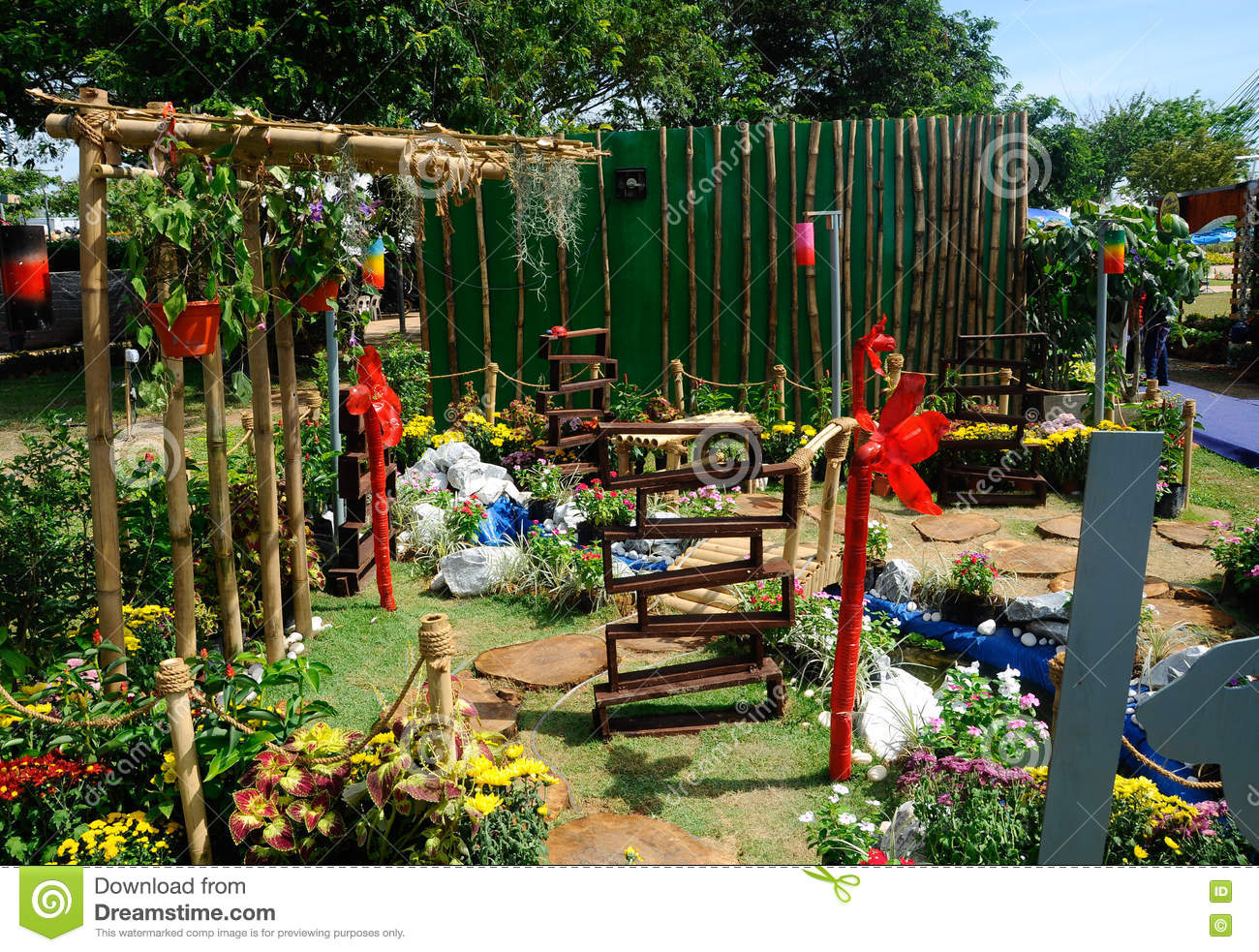 garden design made of recycled materials. Editorial Stock Photo Download Mini Garden Built Using Recycled Materials Design Made Of