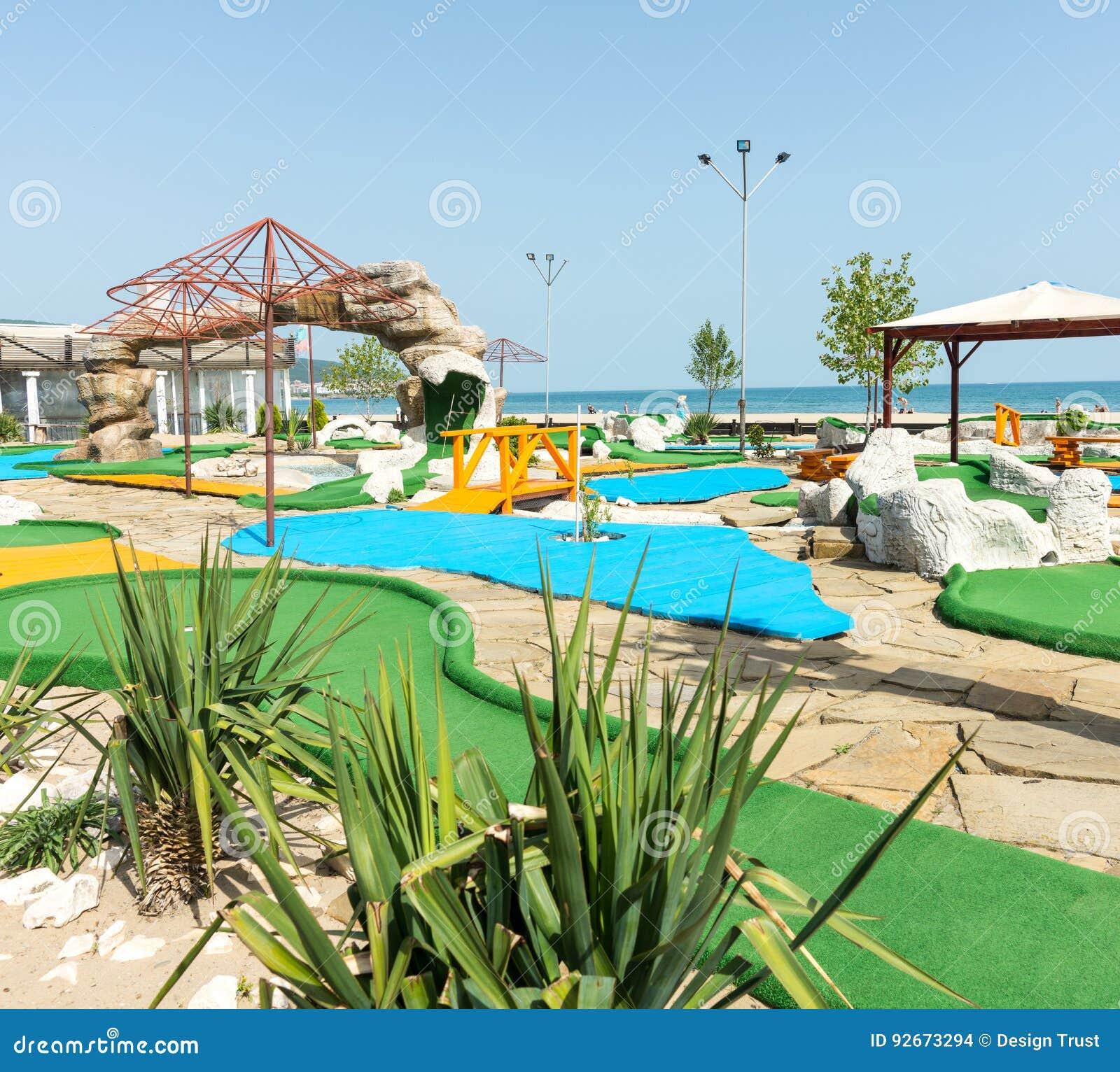 Mini golf course on the beach of Sunny Beach in Bulgaria