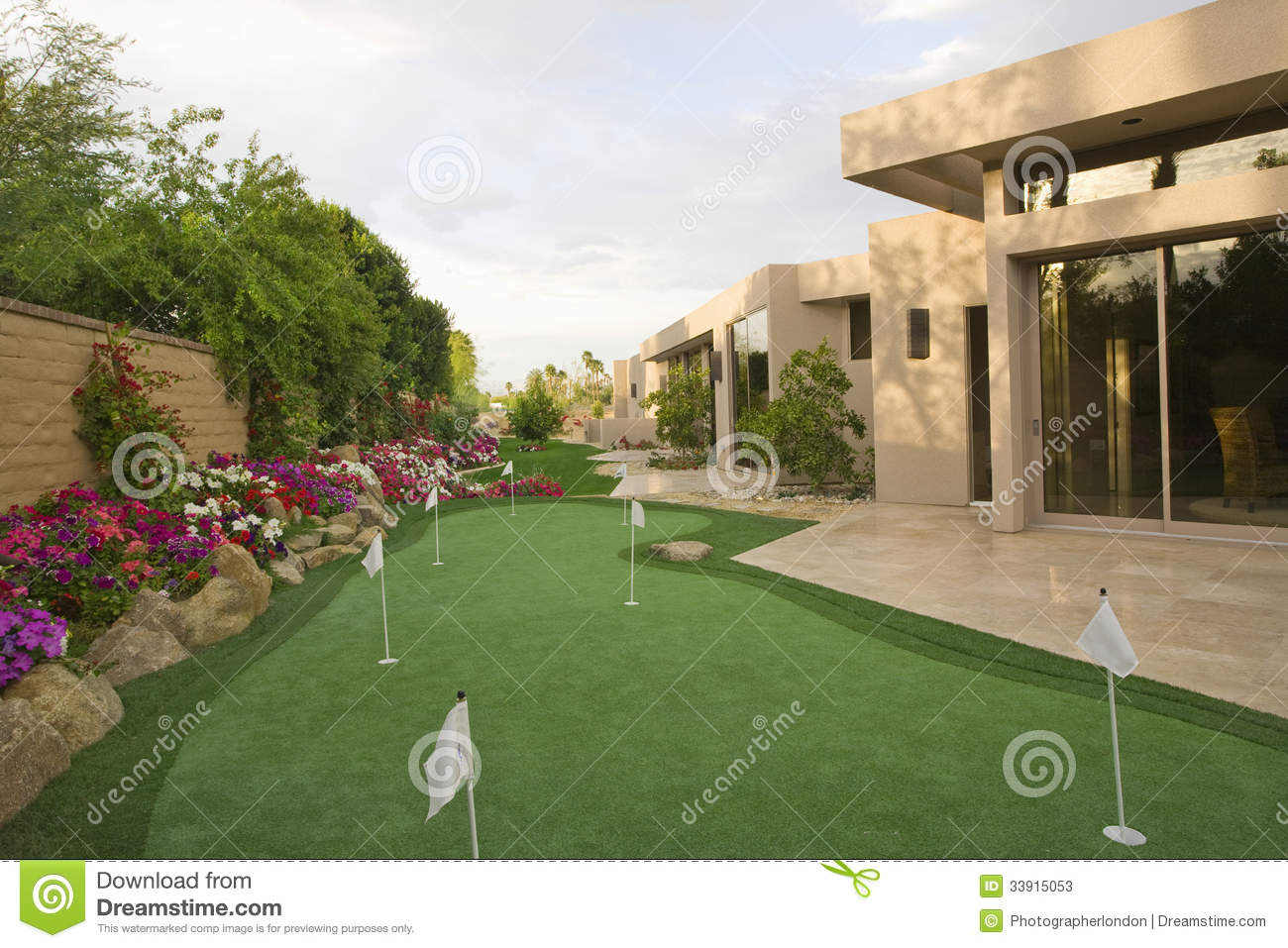 Mini Golf Course In House Garden Stock Image Image 33915053