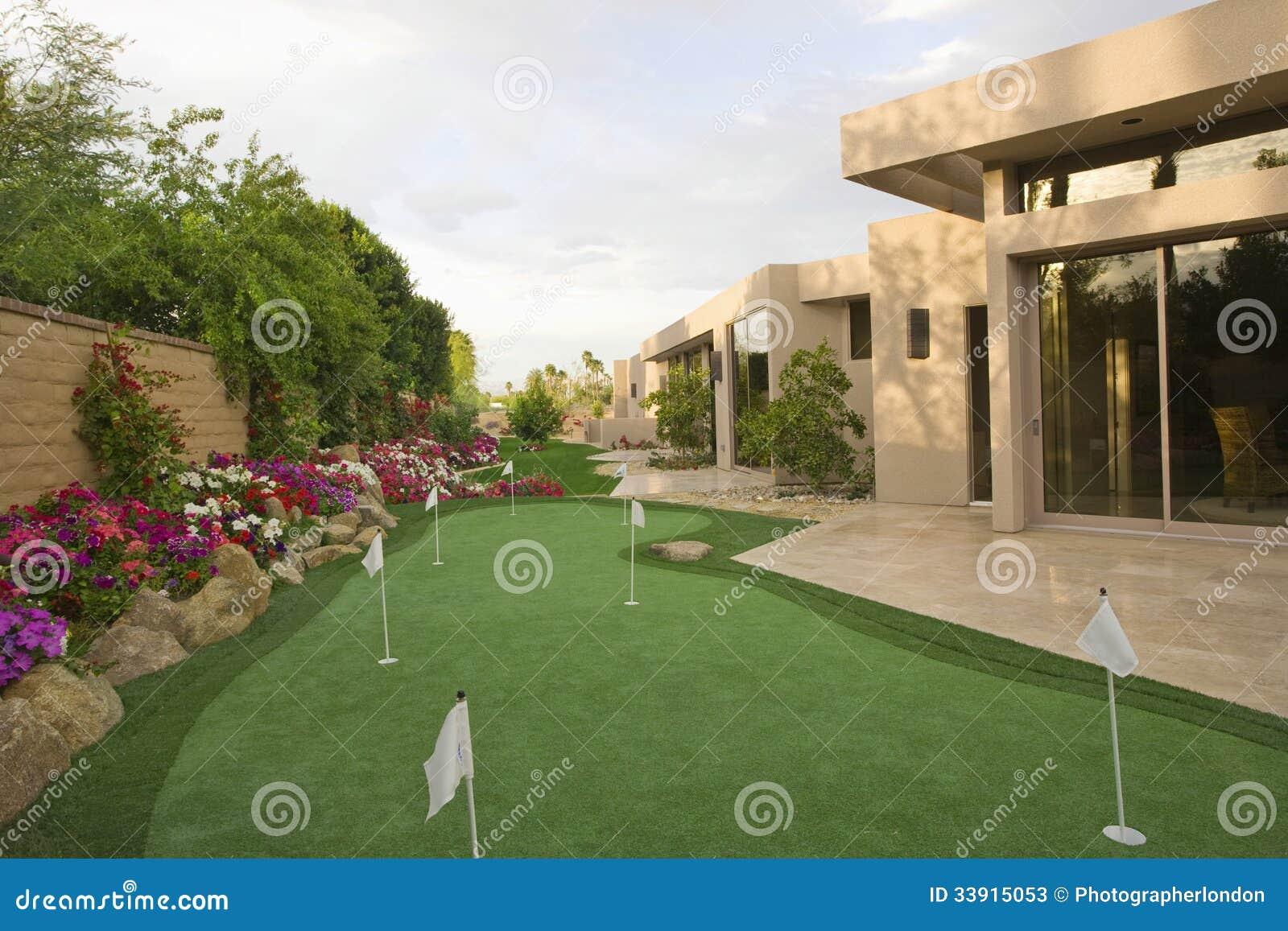 Mini Golf Course In House Garden Stock Photos Image