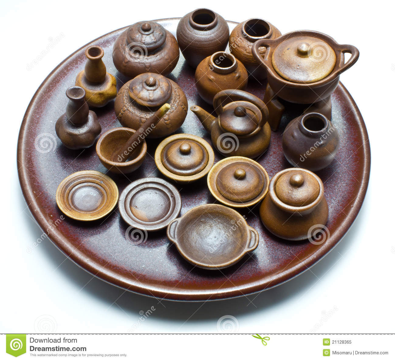 Mini Handmade Thai Ceramic Clay Pot Stock Image Image Of
