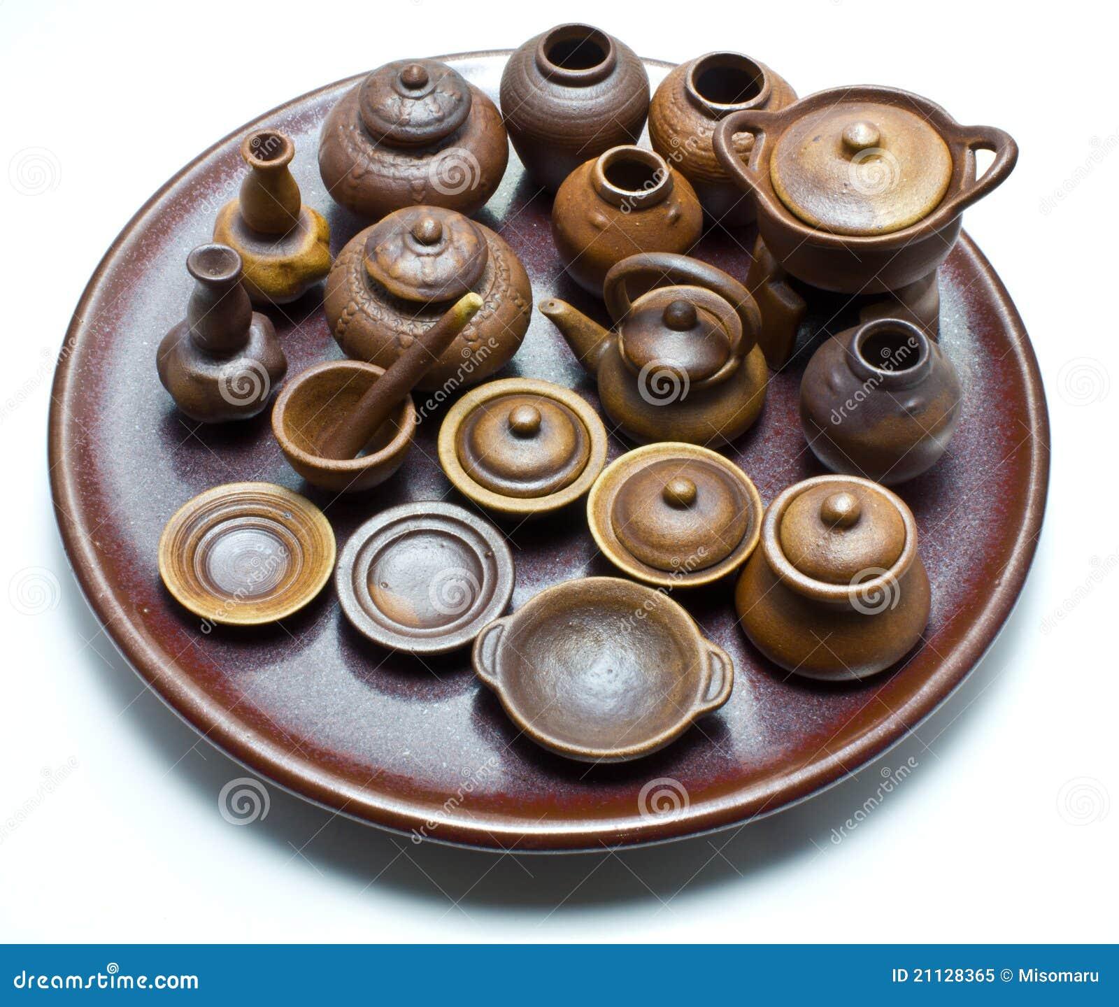Mini Handmade Thai Ceramic Clay Pot Royalty Free Stock