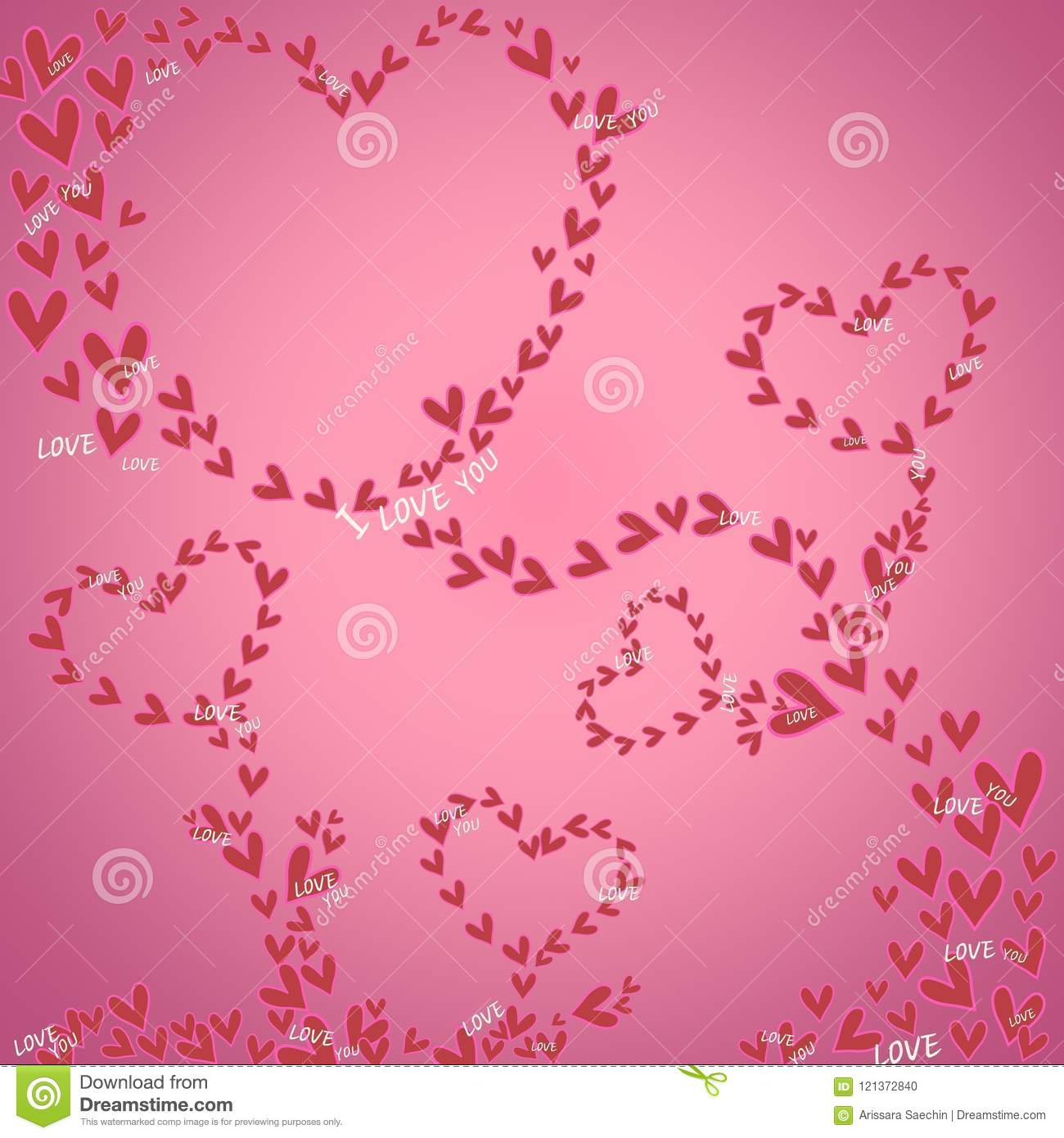 Mini Heart With Pink On Background For Banner Valentine Day Design Love Concept Greeting Card Postcard Wedding Invitation
