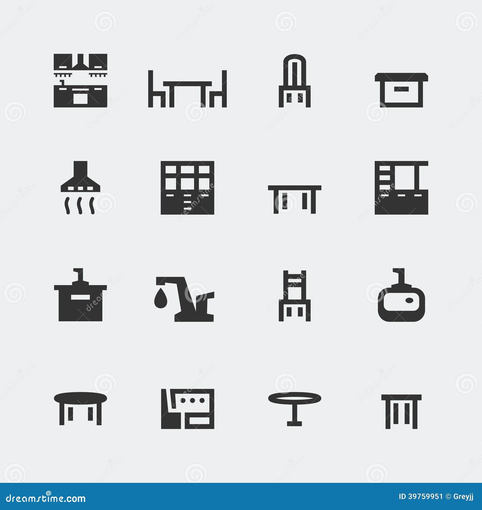 Mini-icônes de meubles de cuisine de vecteur réglés