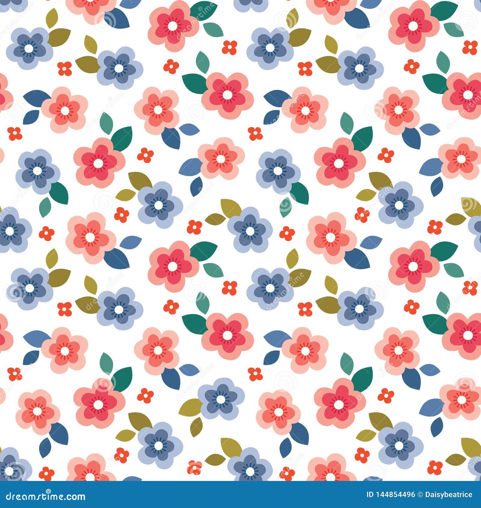 Mini impresión floral inconsútil colorida en el fondo blanco