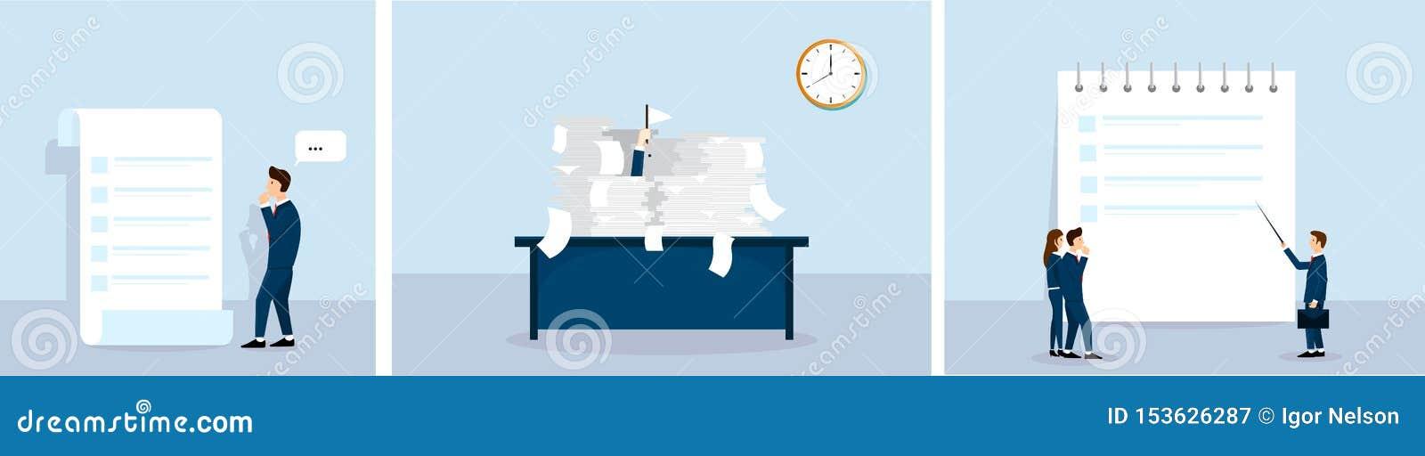 Mini insieme del concetto di affari Lavoro di ufficio per fare lista Lezioni di affari Vettore