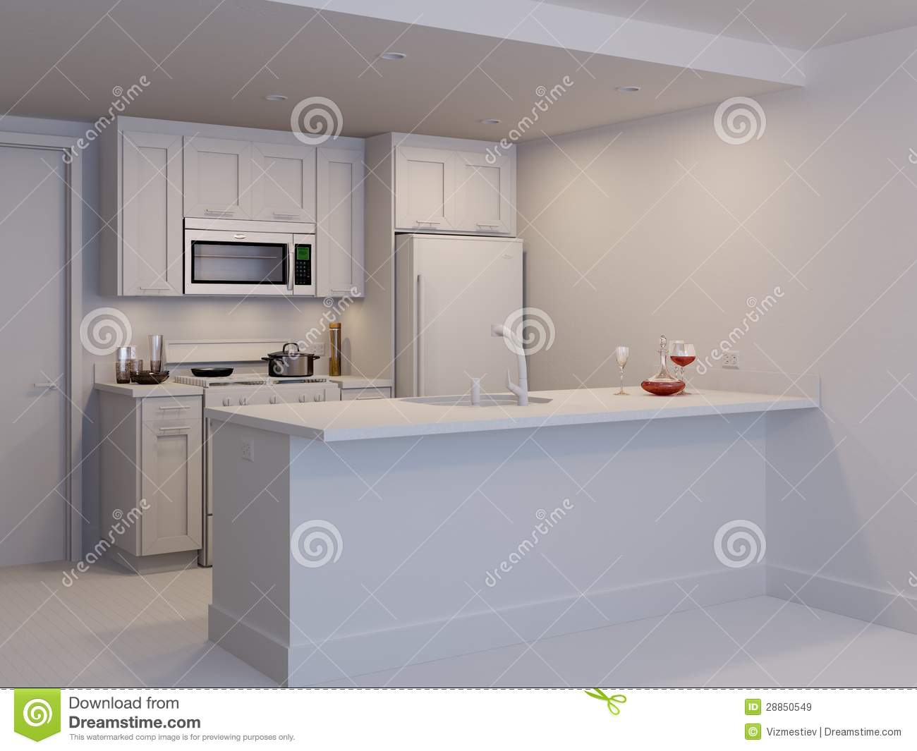 Mini kitchen white model stock illustration image of equipment 28850549 - Mini kitchen design pictures ...