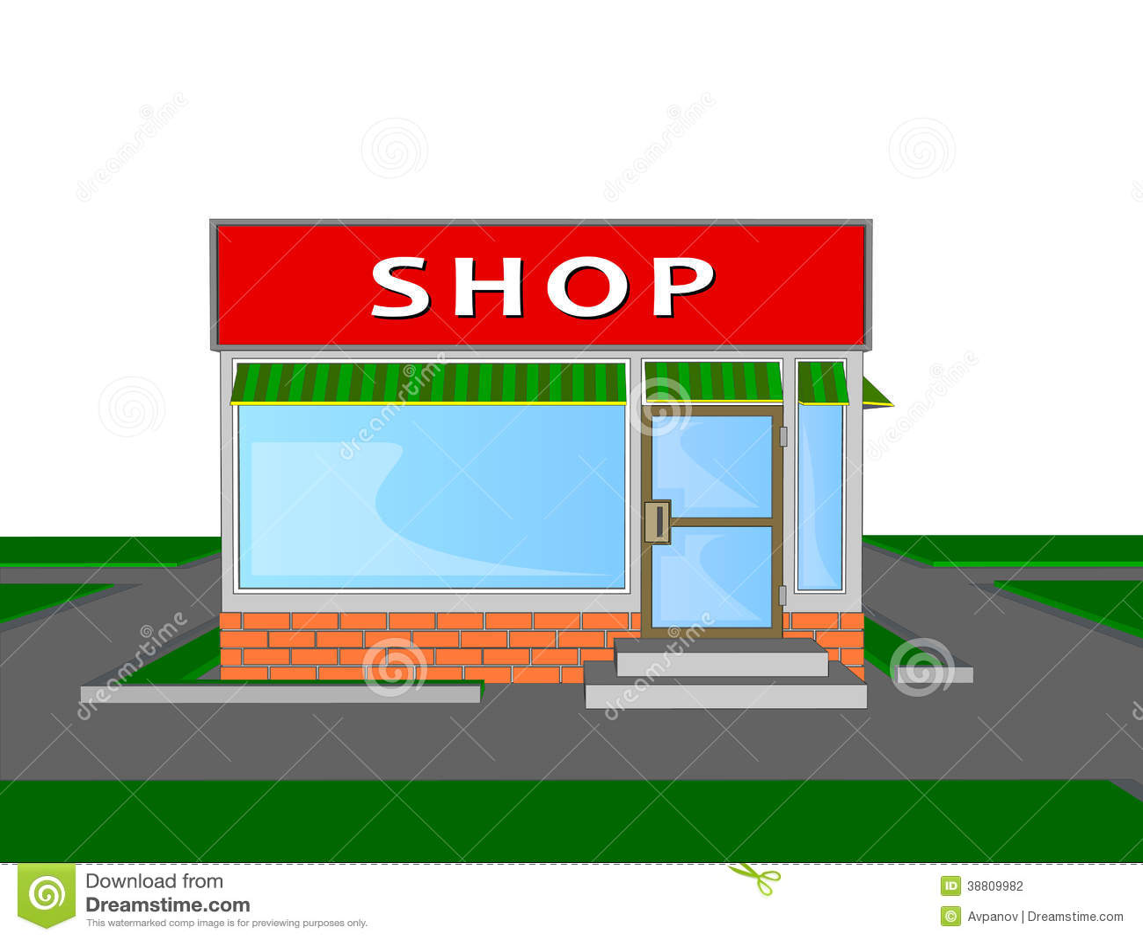 Mini Market Shop Store Retail Shopping Face Stock Vector