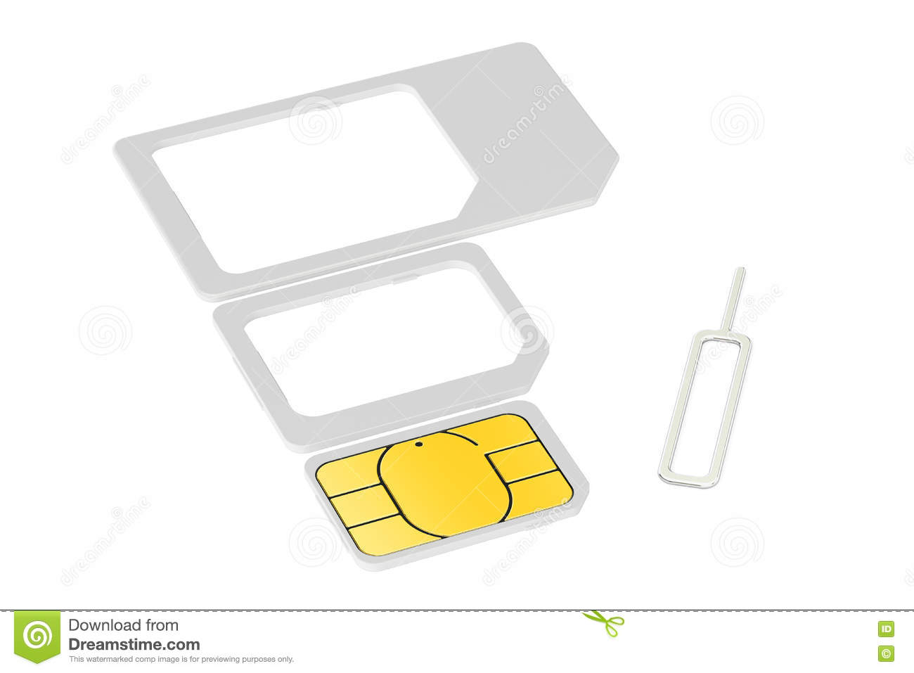 Mini Micro Nano Sim Cards With Eject Pin 3d Rendering Stock