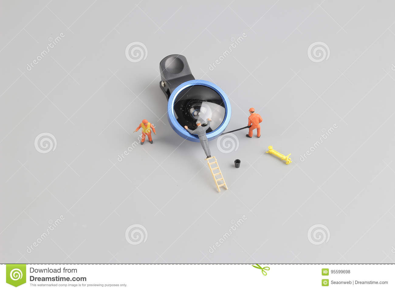 Mini People Worker Cleaning Camera Len Stock Photo - Image of ...