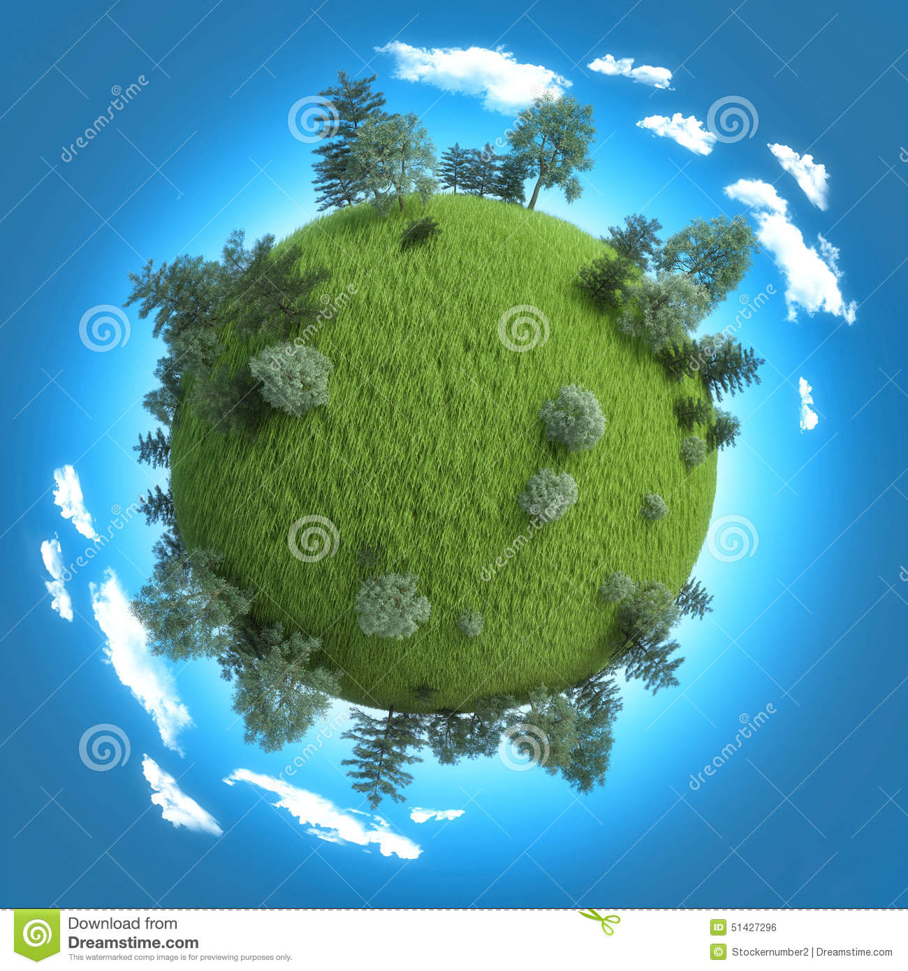 mini planet concept empty space on fresh green field and trees stock illustration image 51427296. Black Bedroom Furniture Sets. Home Design Ideas