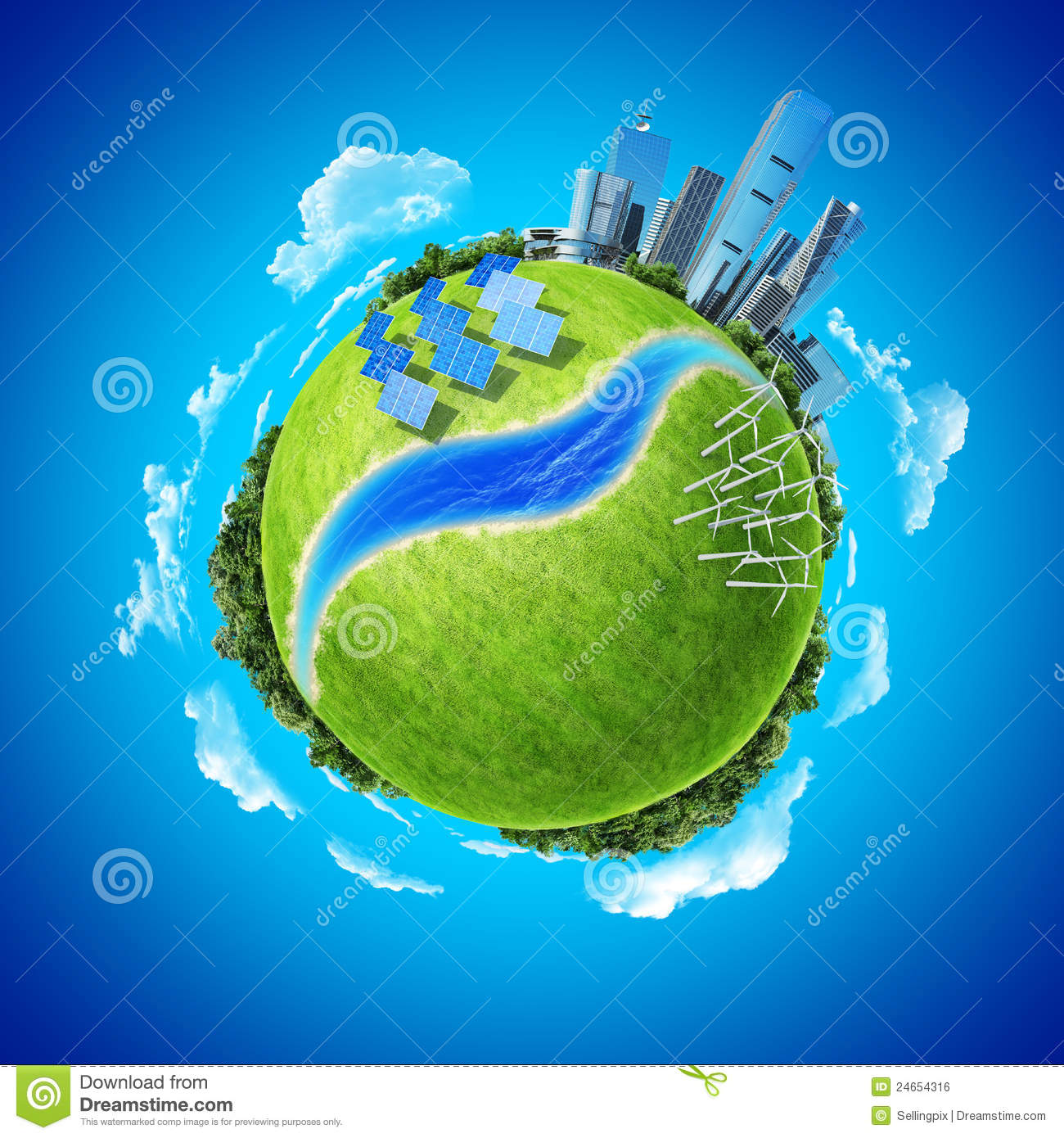Royalty Free Stock Image: Mini planet concept green energy in modern ...