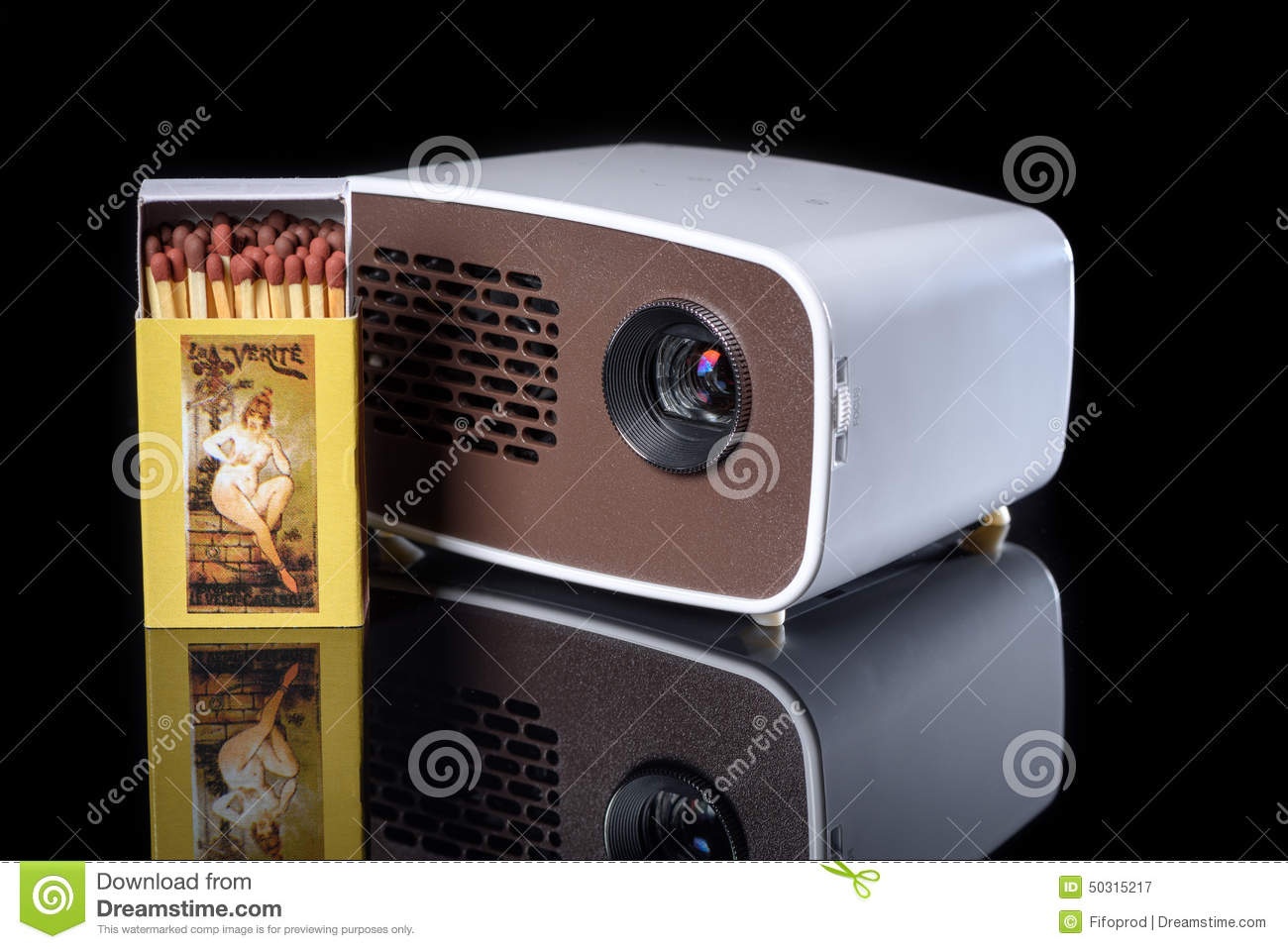 Mini projector with matchbox stock photo image 50315217 for Pocket projector comparison