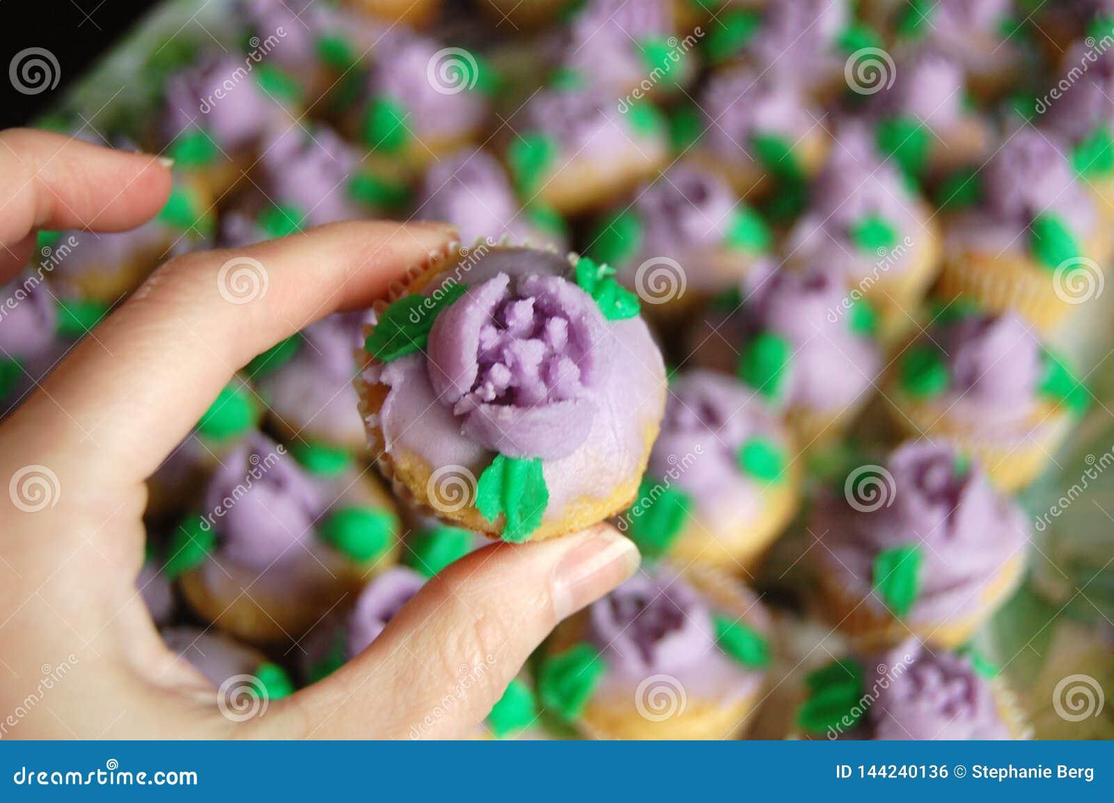 Mini Purple Floral Icing Cupcakes