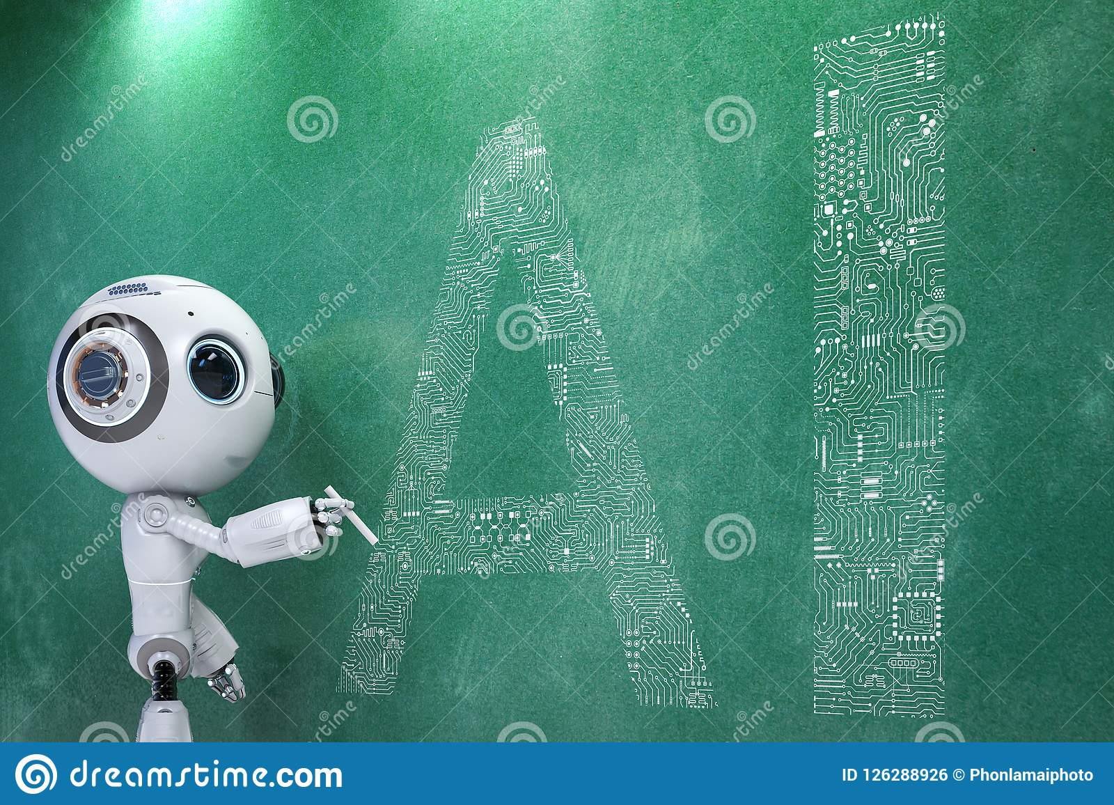 Mini Robot With Ai Circuit Stock Illustration Of Series 3d Animated Model