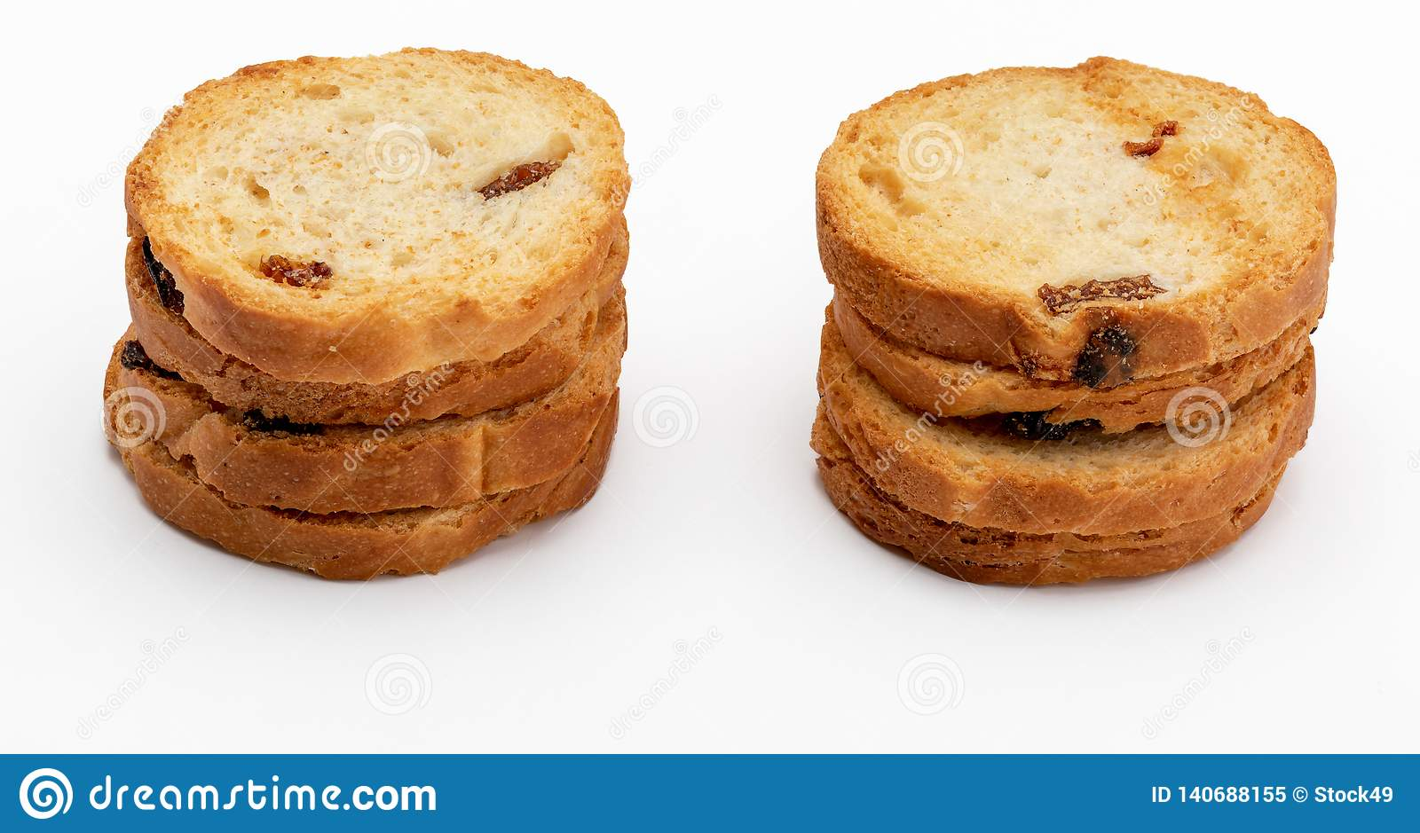 Mini round toasts of bread with raisins. Several units.