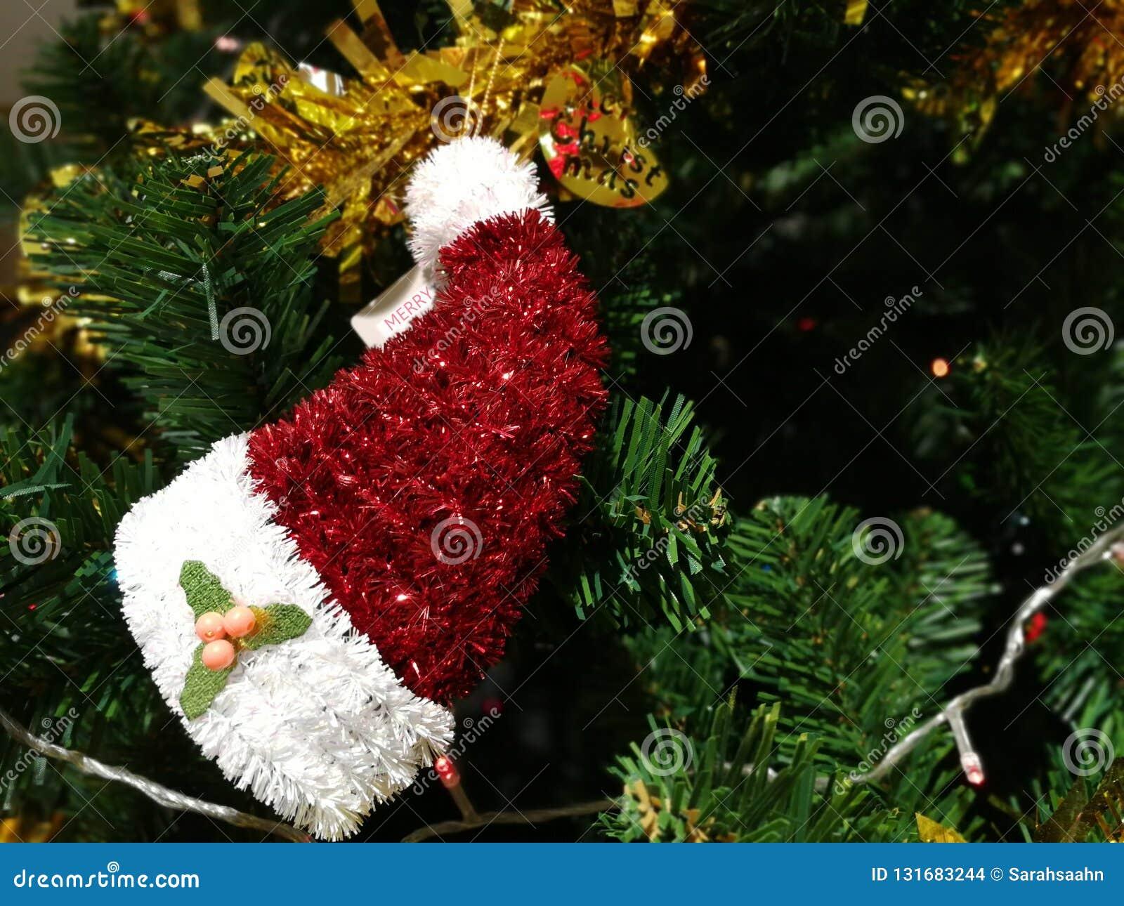 82489237b775e Mini Santa Claus Hat With Christmas Tree Decoration Stock Photo ...