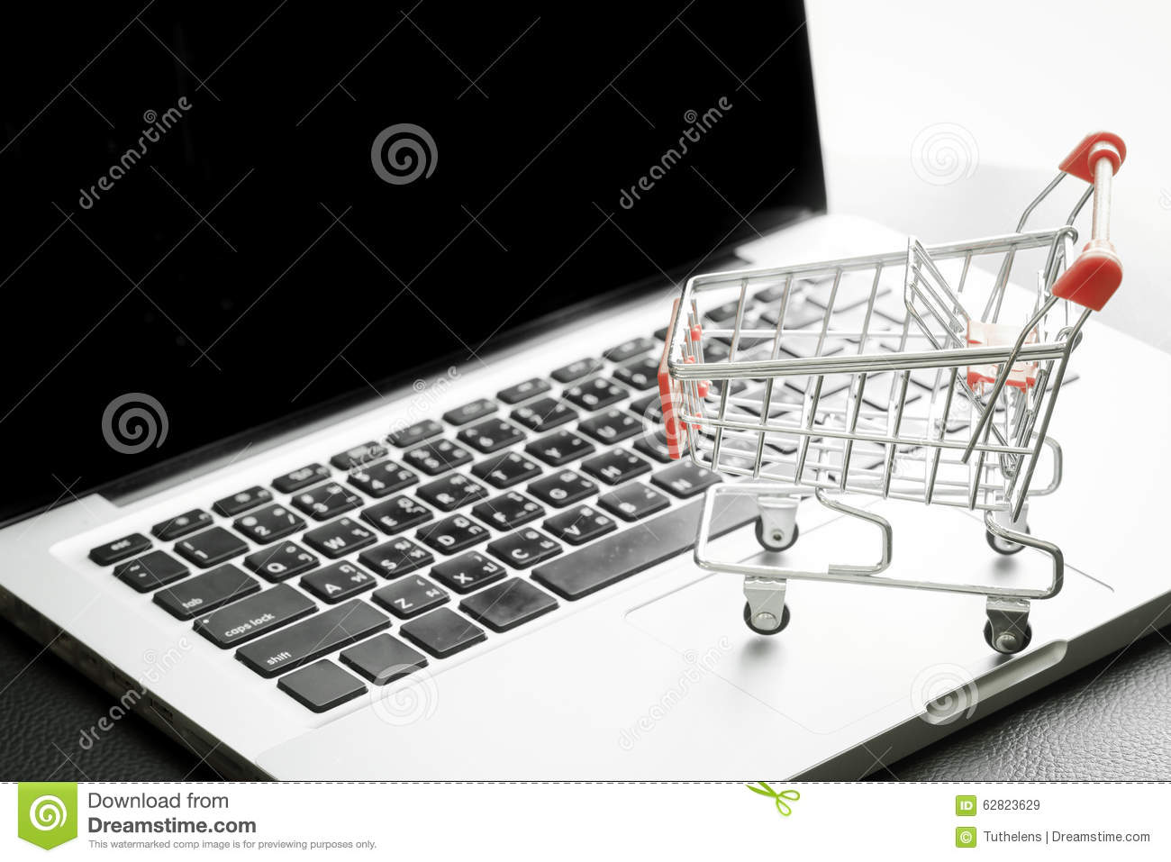 Mini Shopping Cart On Laptop met Gefiltreerd Proces