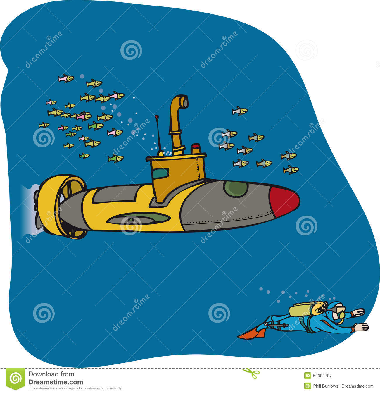 Mini sub and diver stock vector  Illustration of exploring - 50382787