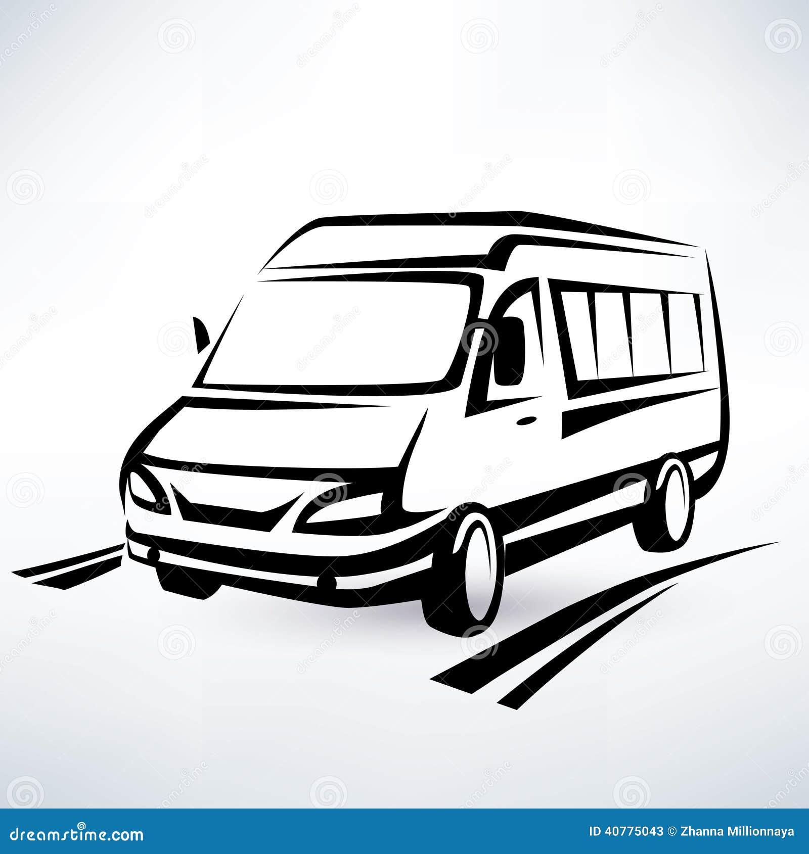 Mini Van Outlined Sketch Stock Vector Image 40775043