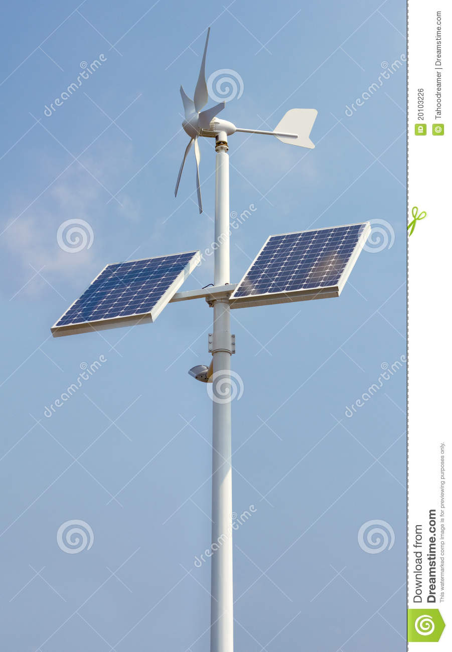 Mini Wind Power And Solar Panels Royalty Free Stock Image - Image ...