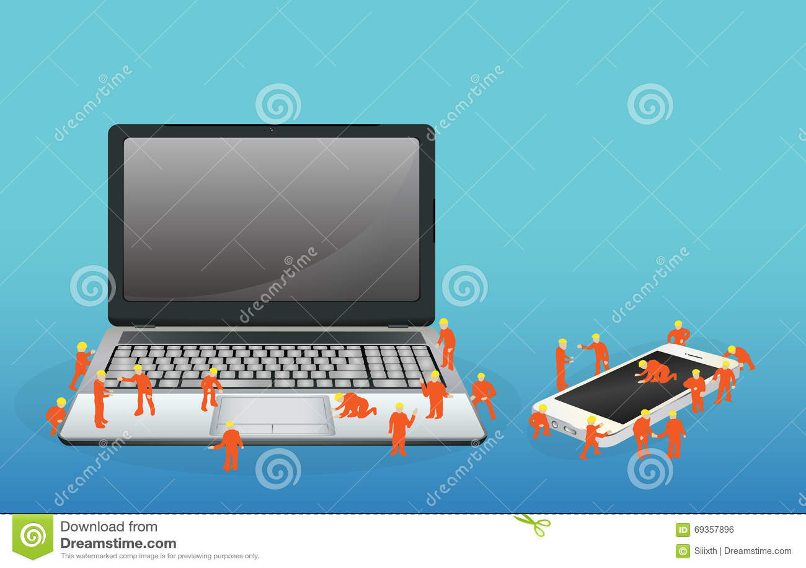 Miniarbeider die aan een een laptop computer en smartphone werken