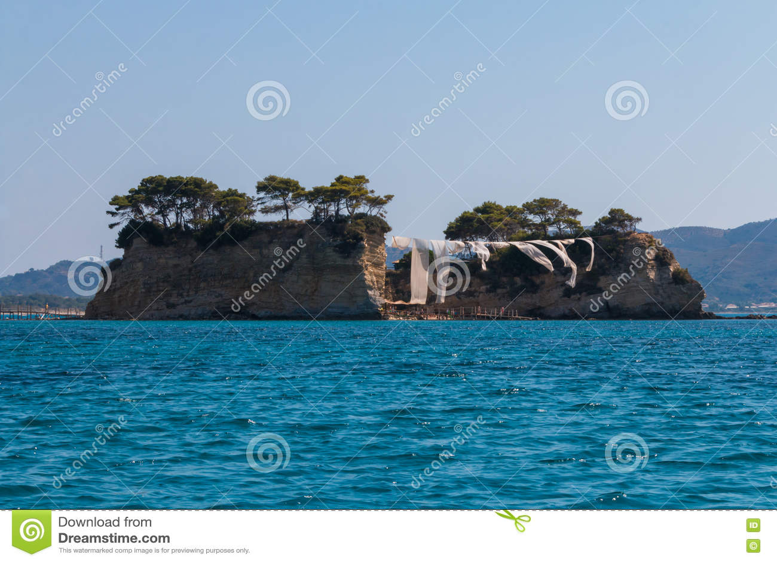 Miniatur Agios Sostis Kleine Insel In Zakynthos Griechenland