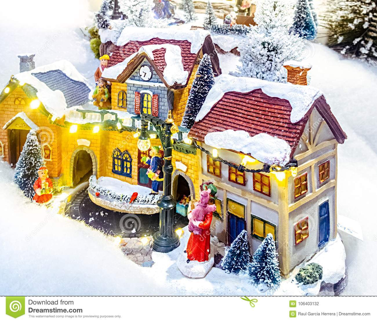 miniature christmas village scene christmas decorations toys - Miniature Christmas Village