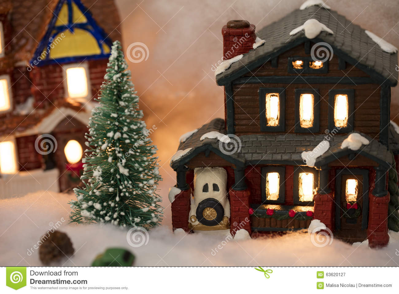 Miniature Christmas Village Scene Stock Image Image Of Jolly