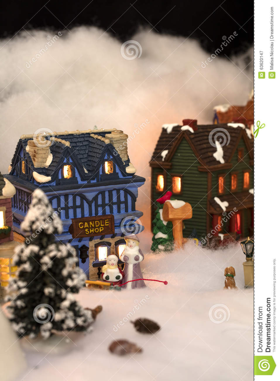 Miniature Christmas Village Scene Stock Photo - Image ...