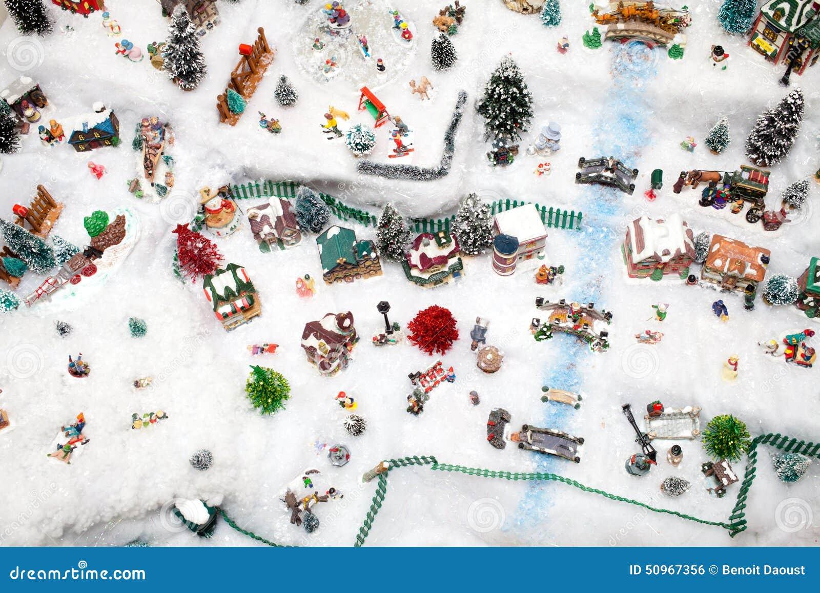 Miniature Christmas Village Under Xmas Tree Stock Photo ...