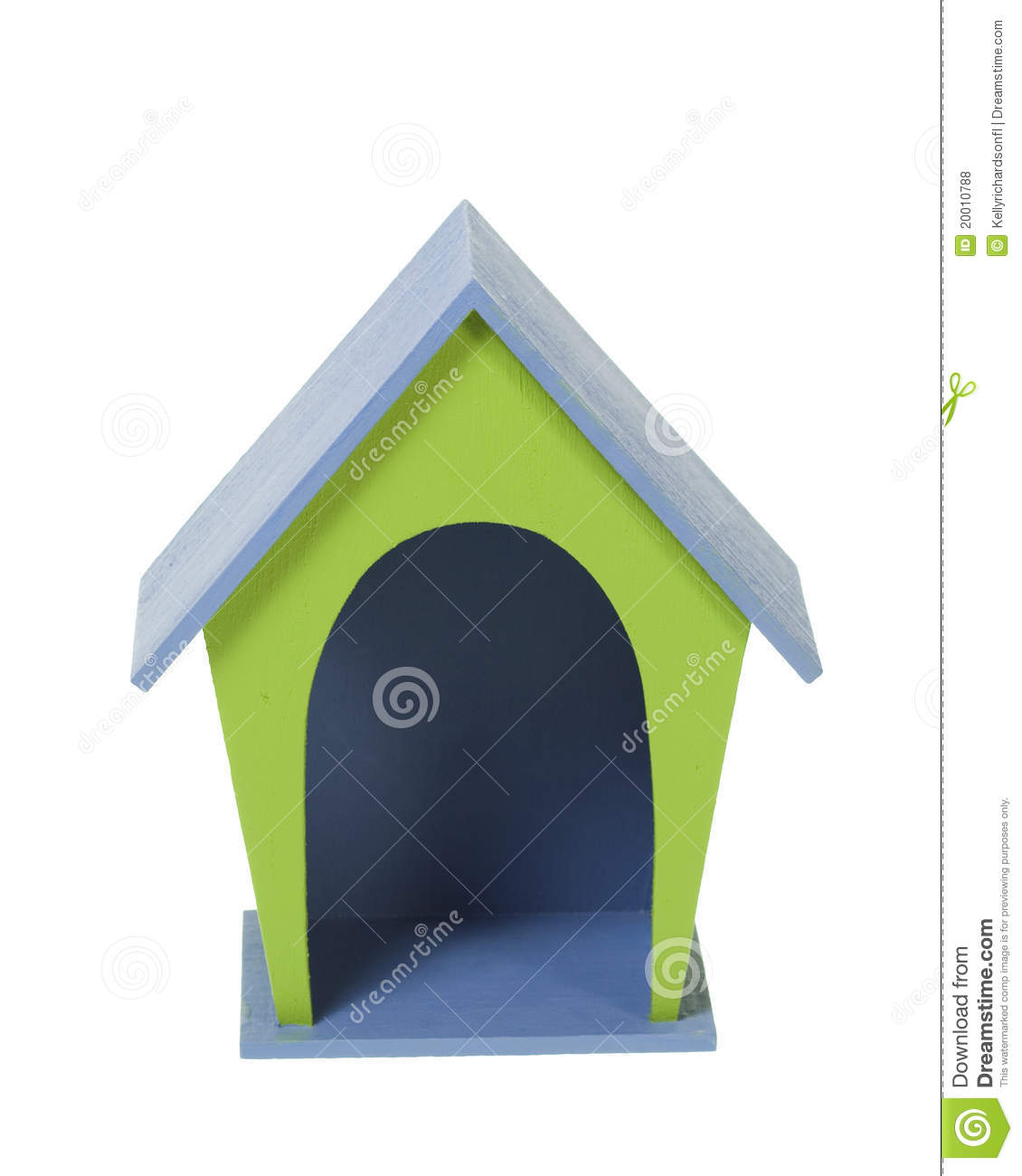 Miniature Craft Blue and green wooden dog house, isolated over a white ...