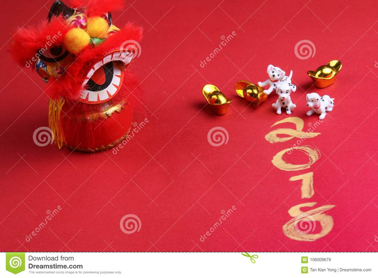 Miniature dogs with chinese new year decorations