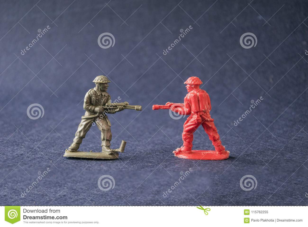 Miniature Of Fighting Toy Model Soldiers Stock Image - Image of