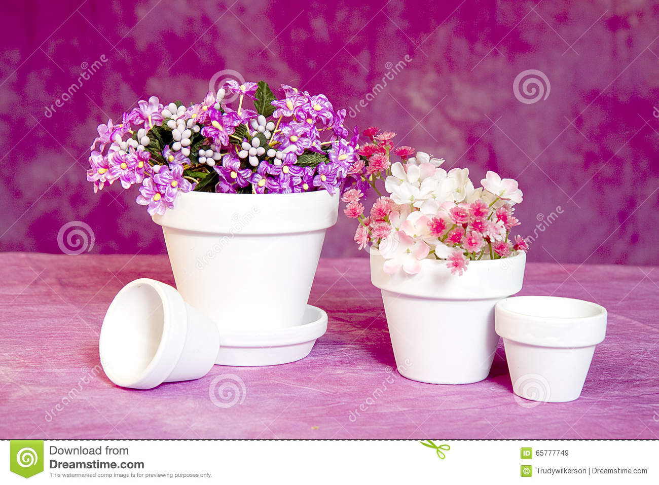 Miniature flower pots and flowers stock image image of flora miniature white clay flower pots with small clusters of flowers sitting on textured pink canvas an assortment of different size pots mightylinksfo