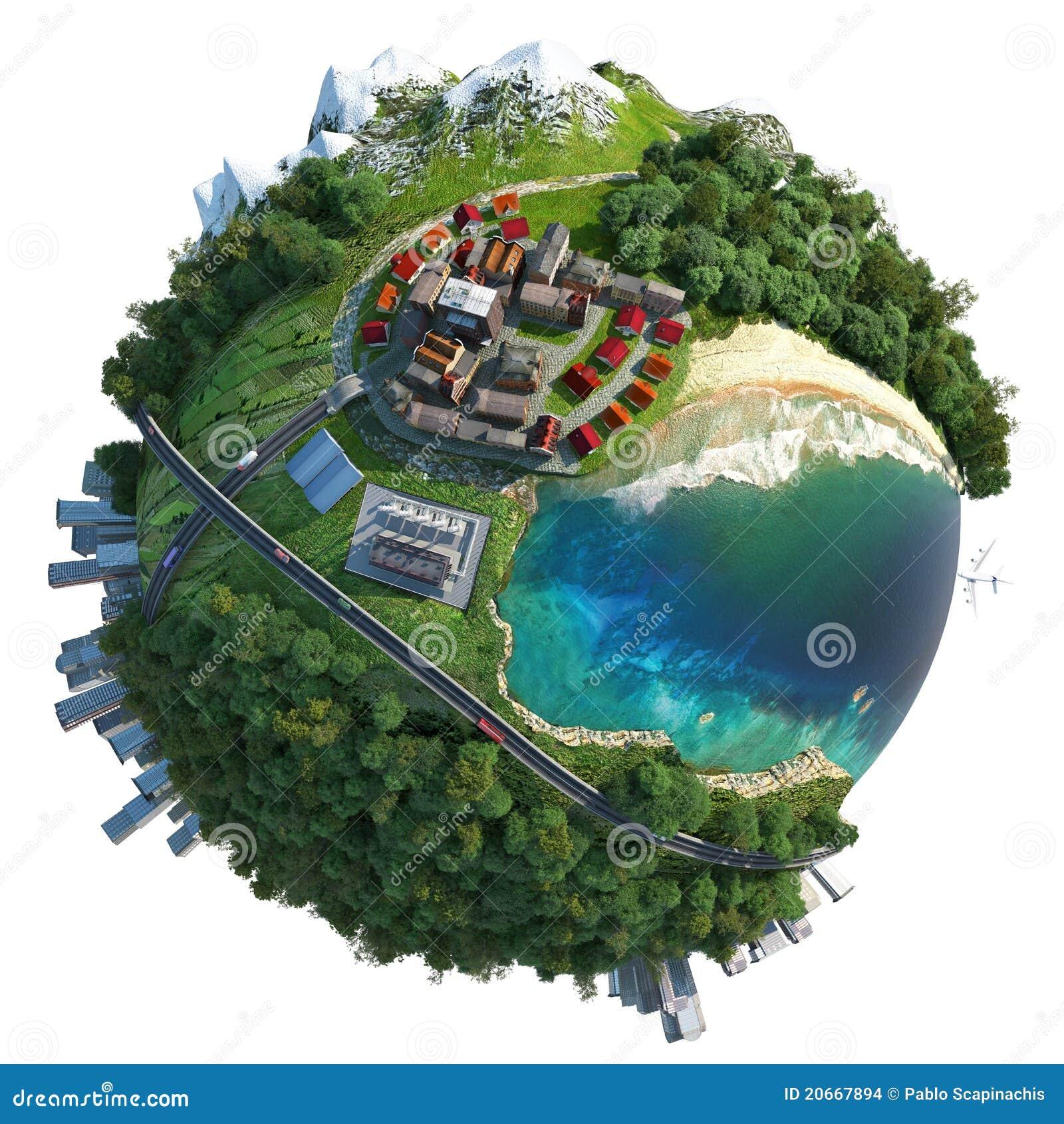 Environmental Concept Earthfriendly Landscapes: Miniature Globe Landscape Diversity Stock Illustration