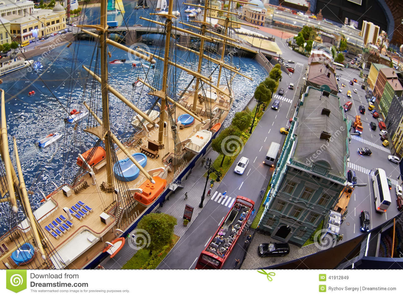Pictures Of Toy Models Of Cities : Miniature model of the city with a dock sailing and toy