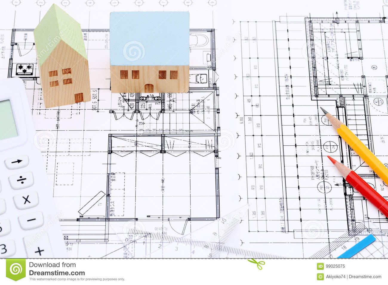 Miniature Model Of House On Blueprints. Construct, Blueprint. Royalty Free  Stock Photo