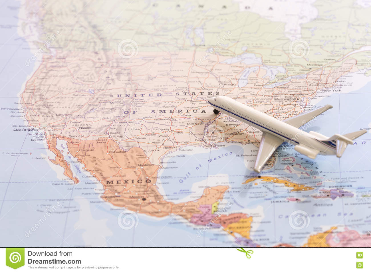 Miniature Of Passenger Plane On A Map Travel Destination USA – Travel Map Of Usa