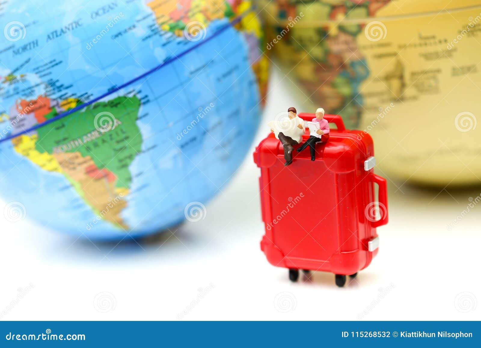 Mini World Map.Miniature People Businessman With Mini World Map Business Travel