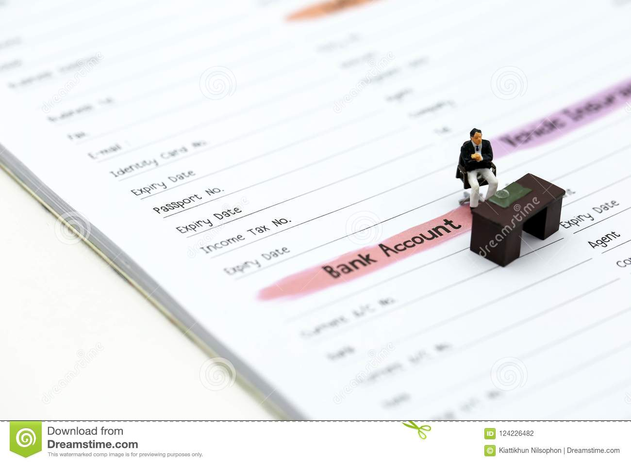 Miniature people businessman standing with list of credit card download miniature people businessman standing with list of credit card stock photo image of reheart Images