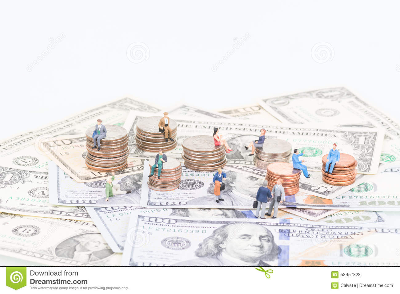 Miniature people on the coins and banknotes