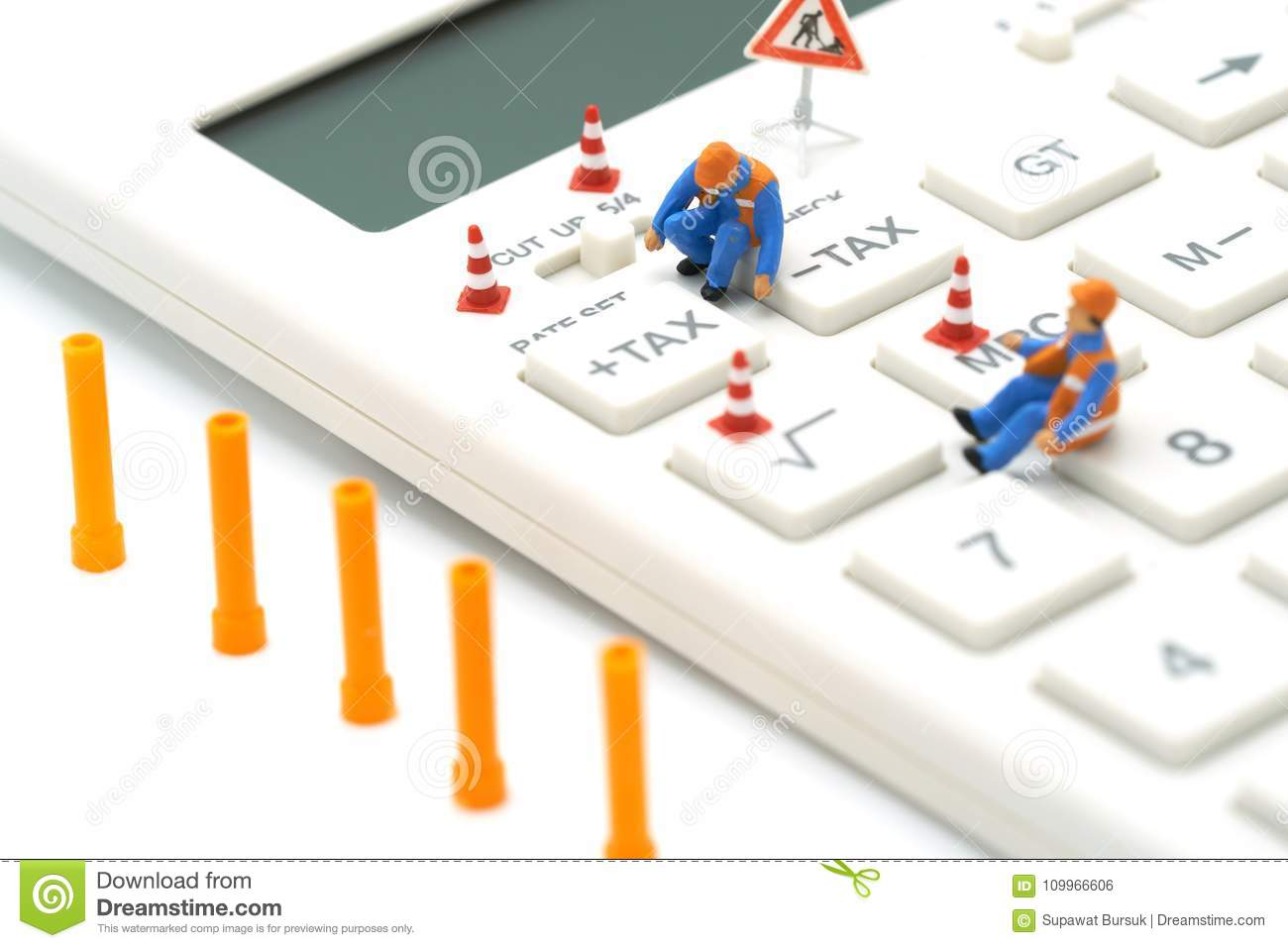 Miniature people Construction worker Keypad TAX button For tax calculation. Easy to calculate. on White calculator on white backgr