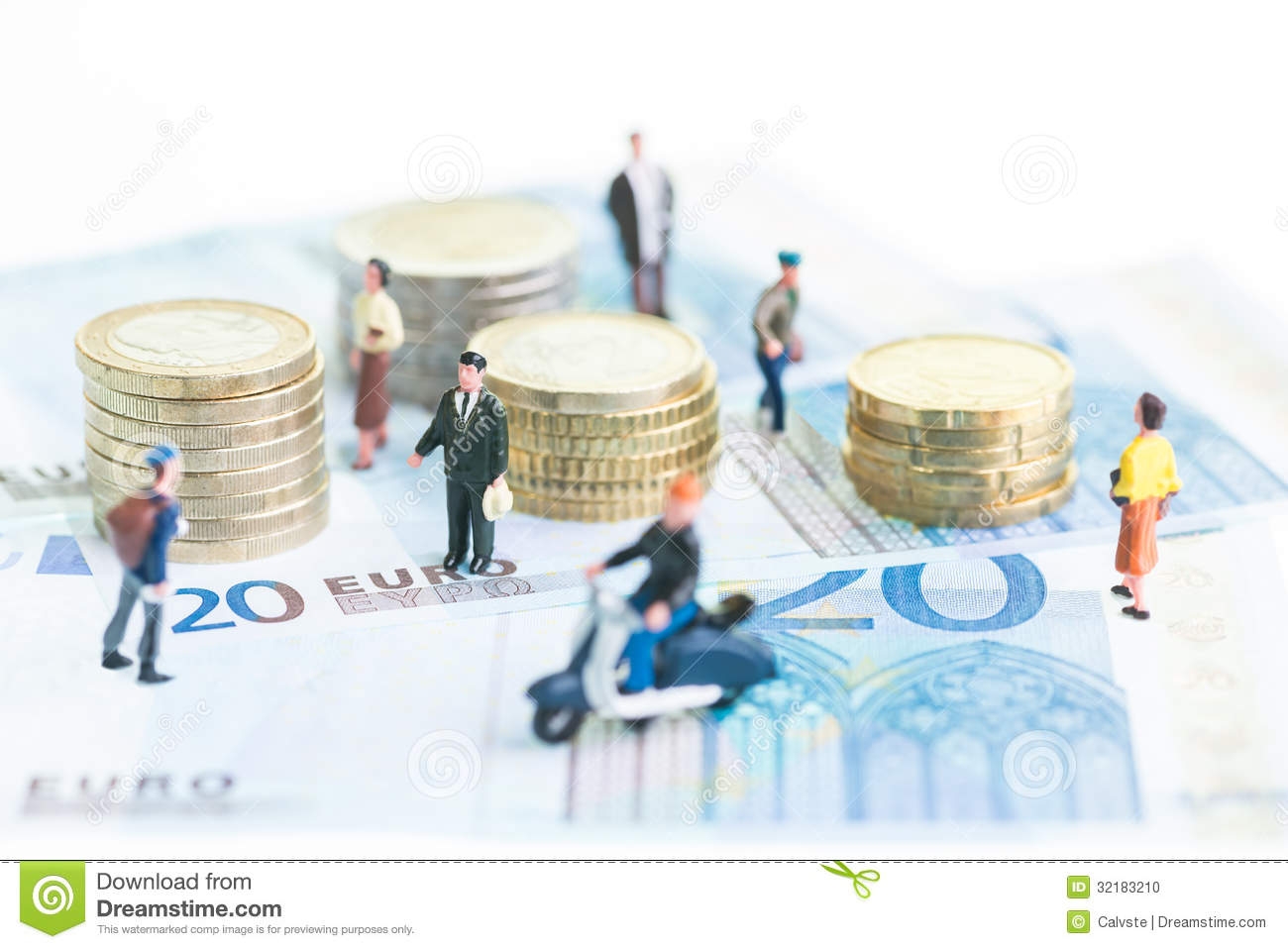 Miniature people on 20 Euro banknotes and Euro coins