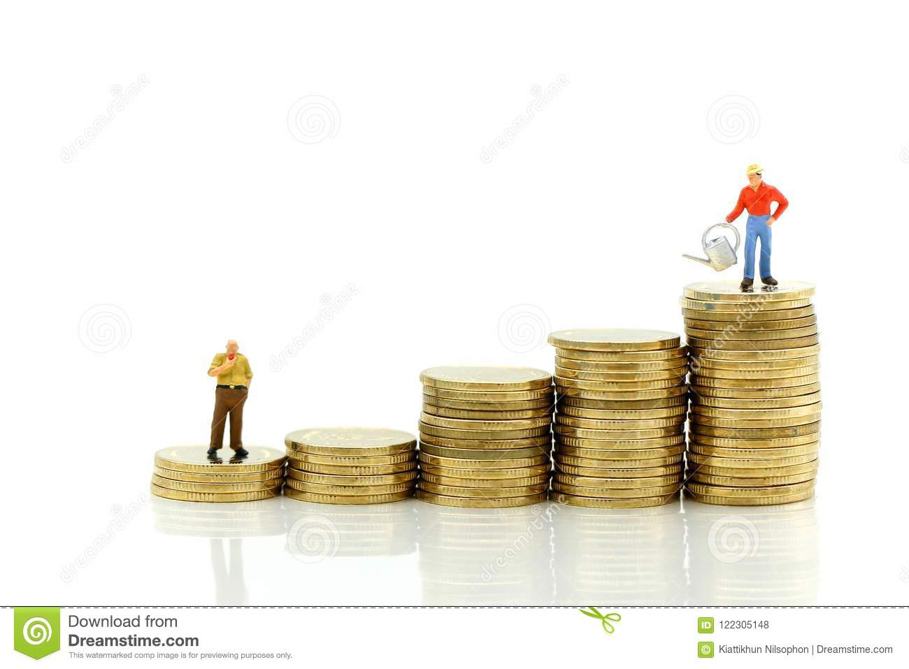 Miniature people : farmer stand on top of coins , Money, Financial, Business Growth concept.