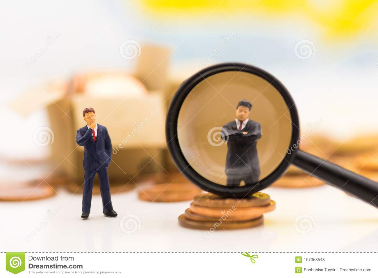 Miniature people, Group of businessmen work with team, using as background Choice of the best suited employee,