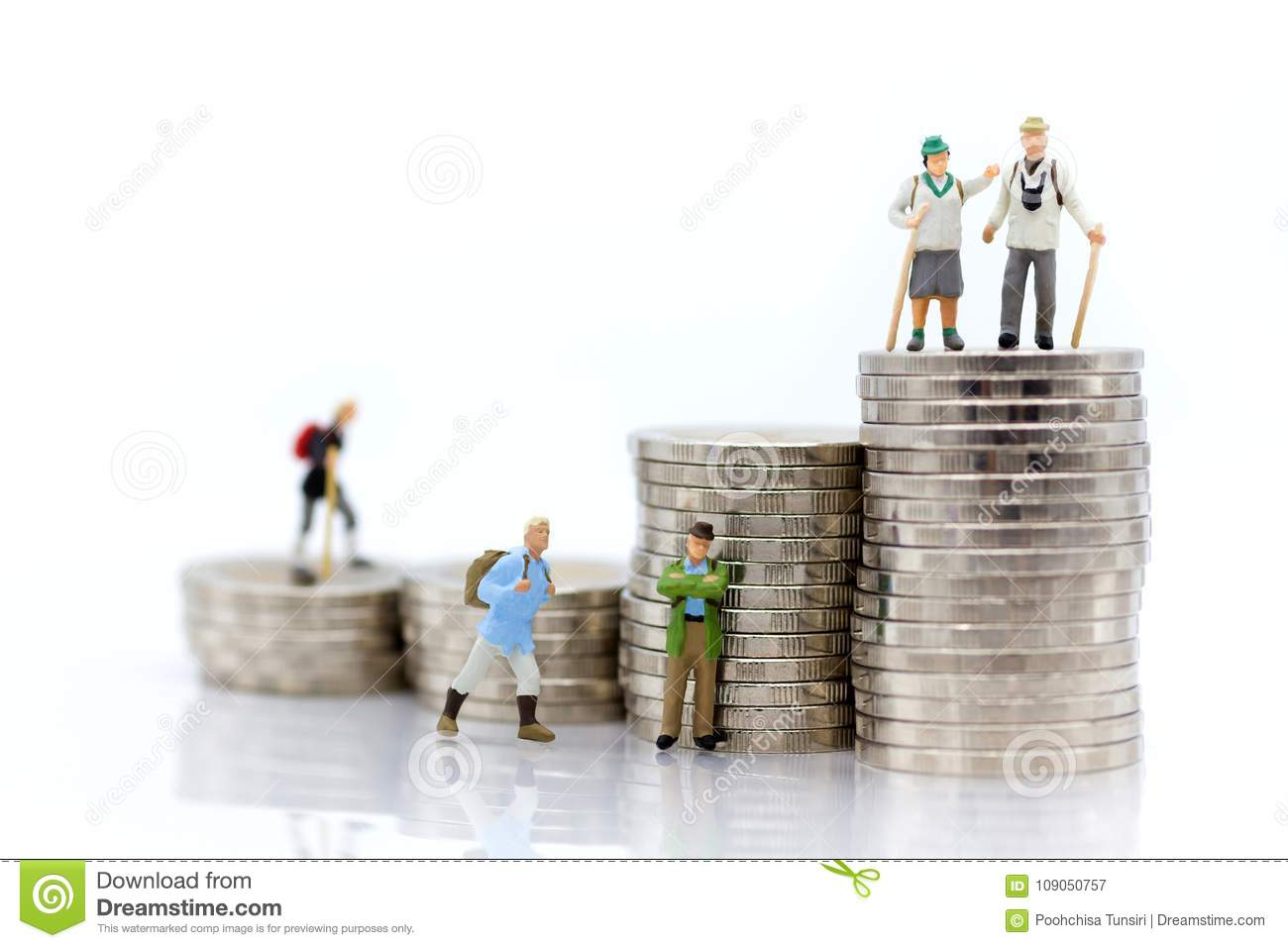 Miniature people: Old people standing on top of stack coins . Image use for background retirement planning, Life insurance concept